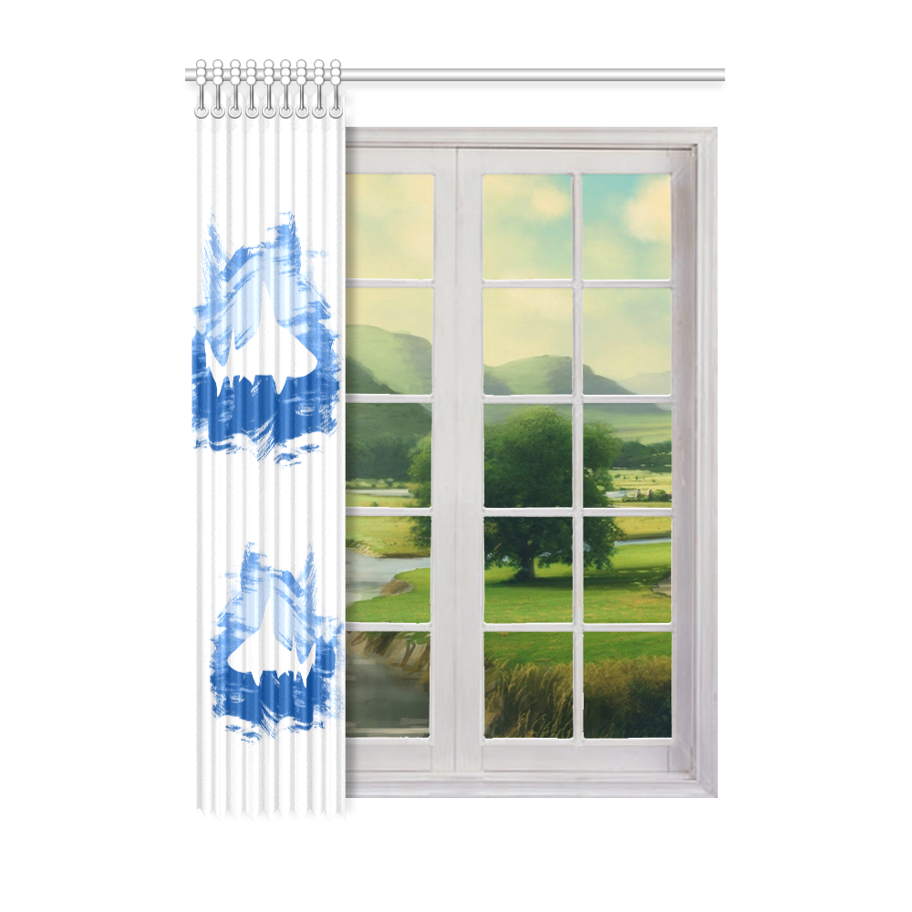 "Shark Shape Template Blue Painting Window Curtain 52"" x 72""(One Piece)"
