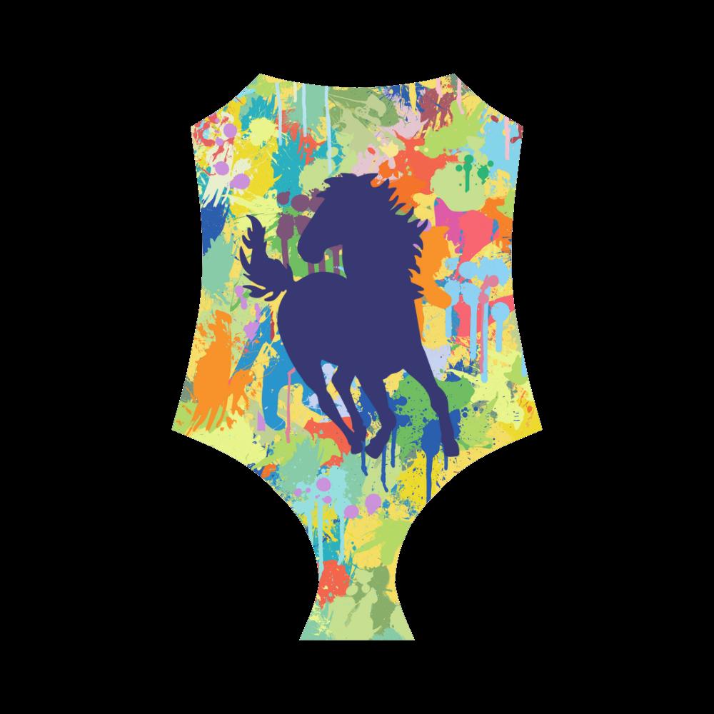 Darkblue Horse Shape Colorful Splash Strap Swimsuit ( Model S05)