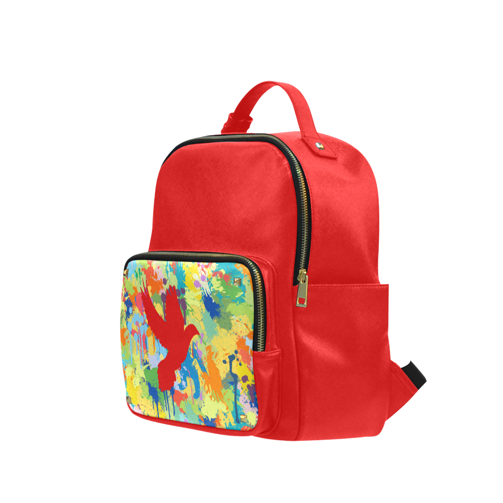 Dove Red Colorful Splat Complete Campus backpack/Small (Model 1650)