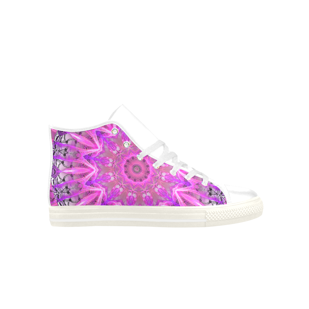 Lavender Lace Abstract Pink Light Love Lattice Aquila High Top Microfiber Leather Women's Shoes (Model 027)