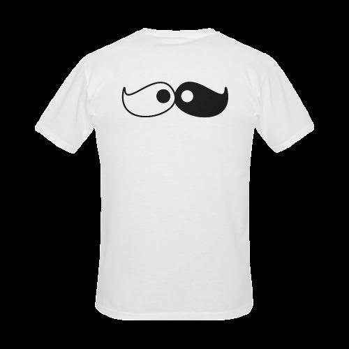 Hipster Yin Yang Moustache Men's Slim Fit T-shirt (Model T13)