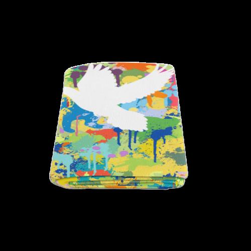 "Dove White Colorful Splat Complete Blanket 58""x80"""