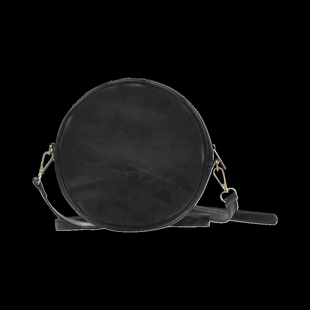 Free Wolf Black Colorful Splat Complete Round Sling Bag (Model 1647)