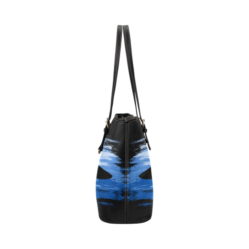 Shark Shape Template Blue Painting Leather Tote Bag/Large (Model 1651)