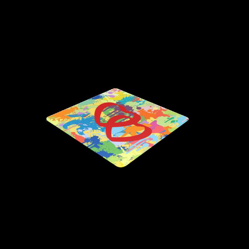 Love Red Hearts Colorful Splash Design Square Coaster