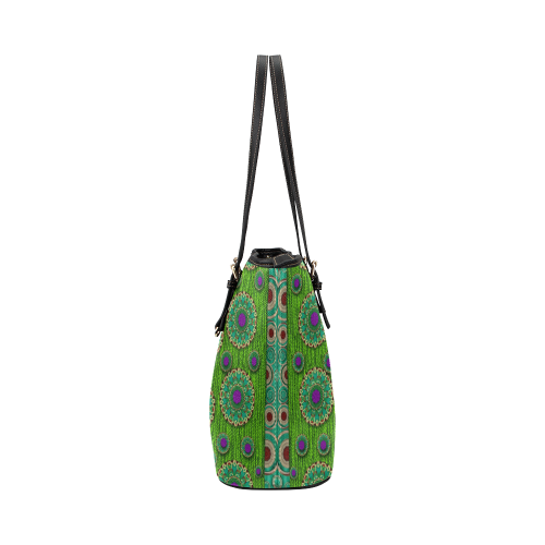 landscape and scenery in the peacock forest Leather Tote Bag/Large (Model 1651)