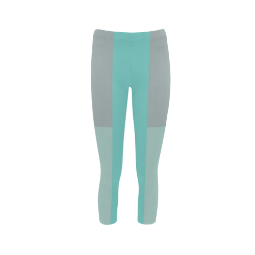 Grey with Teal Accents Capri Legging (Model L02)
