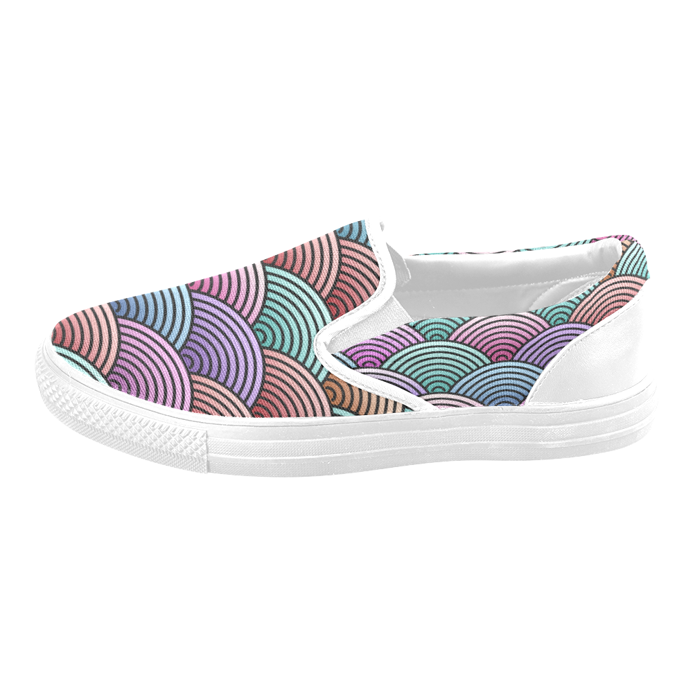 Concentric Circle Pattern Men's Slip-on Canvas Shoes (Model 019)
