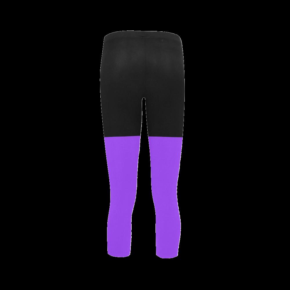 Retro in Purple Neon Capri Legging (Model L02)