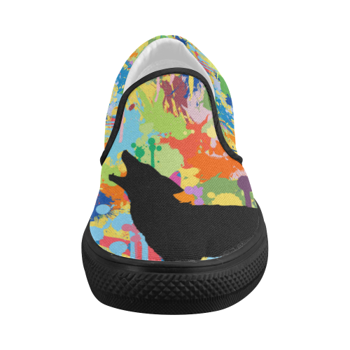 Wolf Black Shape Colorful Splash Complete Women's Slip-on Canvas Shoes (Model 019)