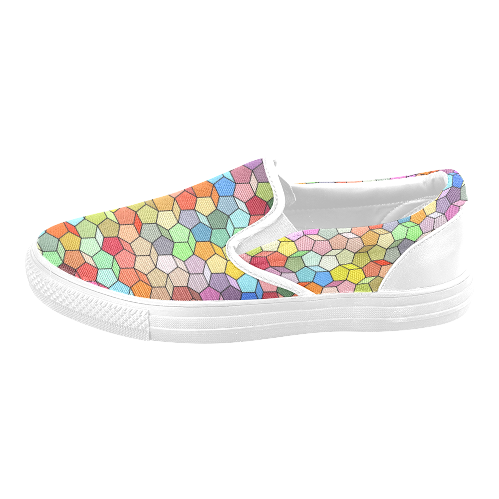 Colorful Polygon Pattern Men's Slip-on Canvas Shoes (Model 019)