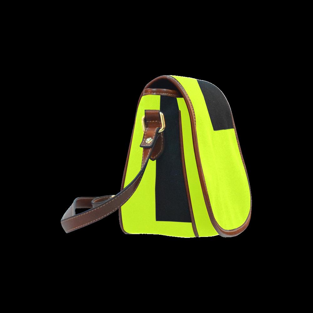 Retro in Green Neon Saddle Bag/Large (Model 1649)