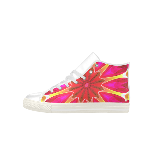 Cherry Daffodil Abstract Modern Pink Flowers Zen Aquila High Top Microfiber Leather Men's Shoes (Model 027)