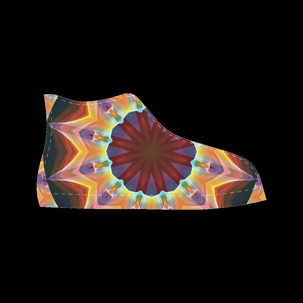 Santa Fe Summer Night, Abstract Warm Romance Aquila High Top Microfiber Leather Men's Shoes (Model 027)