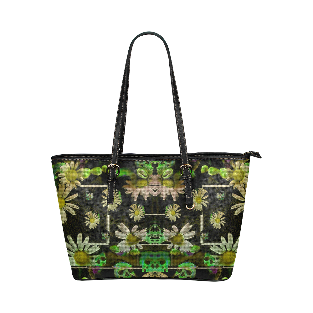 Skull in the fantasy forest popart Leather Tote Bag/Large (Model 1651)