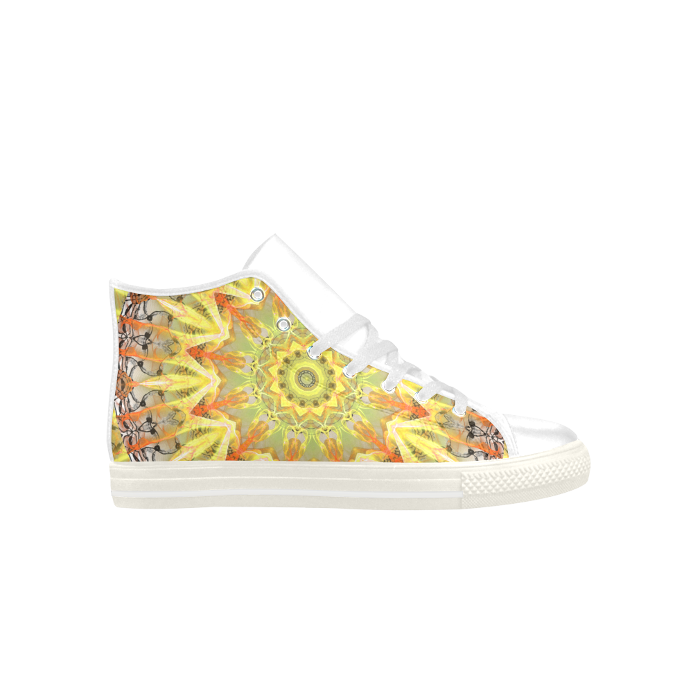 Golden Feathers Orange Flames Abstract Lattice Aquila High Top Microfiber Leather Men's Shoes (Model 027)