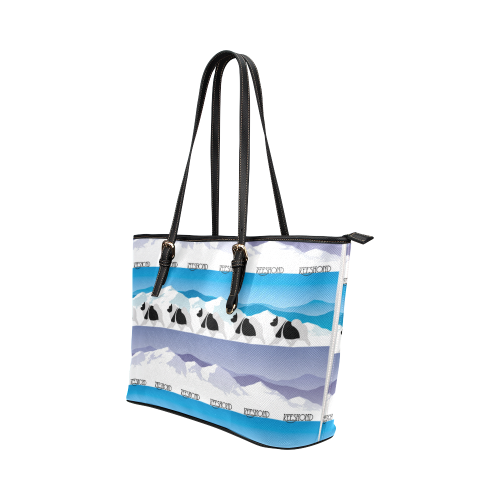 Keeshond Rockin the Rockies Leather Tote Bag/Small (Model 1651)