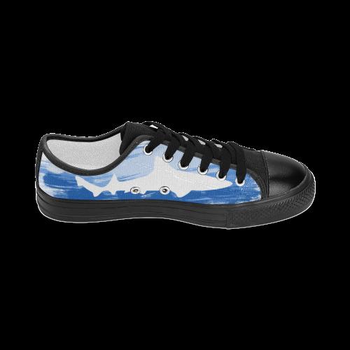 Shark Shape Template Blue Painting Women's Classic Canvas Shoes (Model 018)