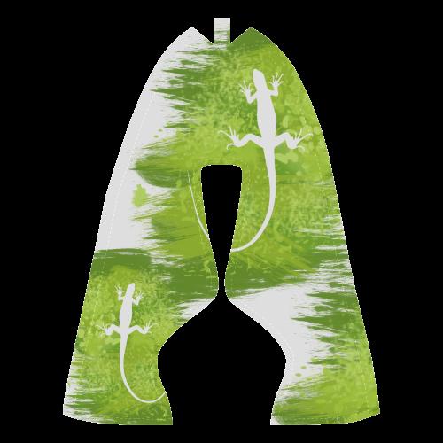 Green Lizard Shape Painting White your Backgr Women's Running Shoes (Model 020)