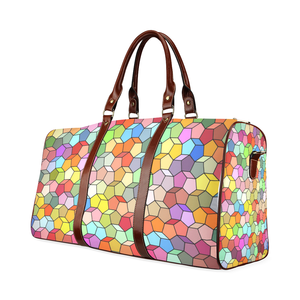 Colorful Polygon Pattern Waterproof Travel Bag/Small (Model 1639)