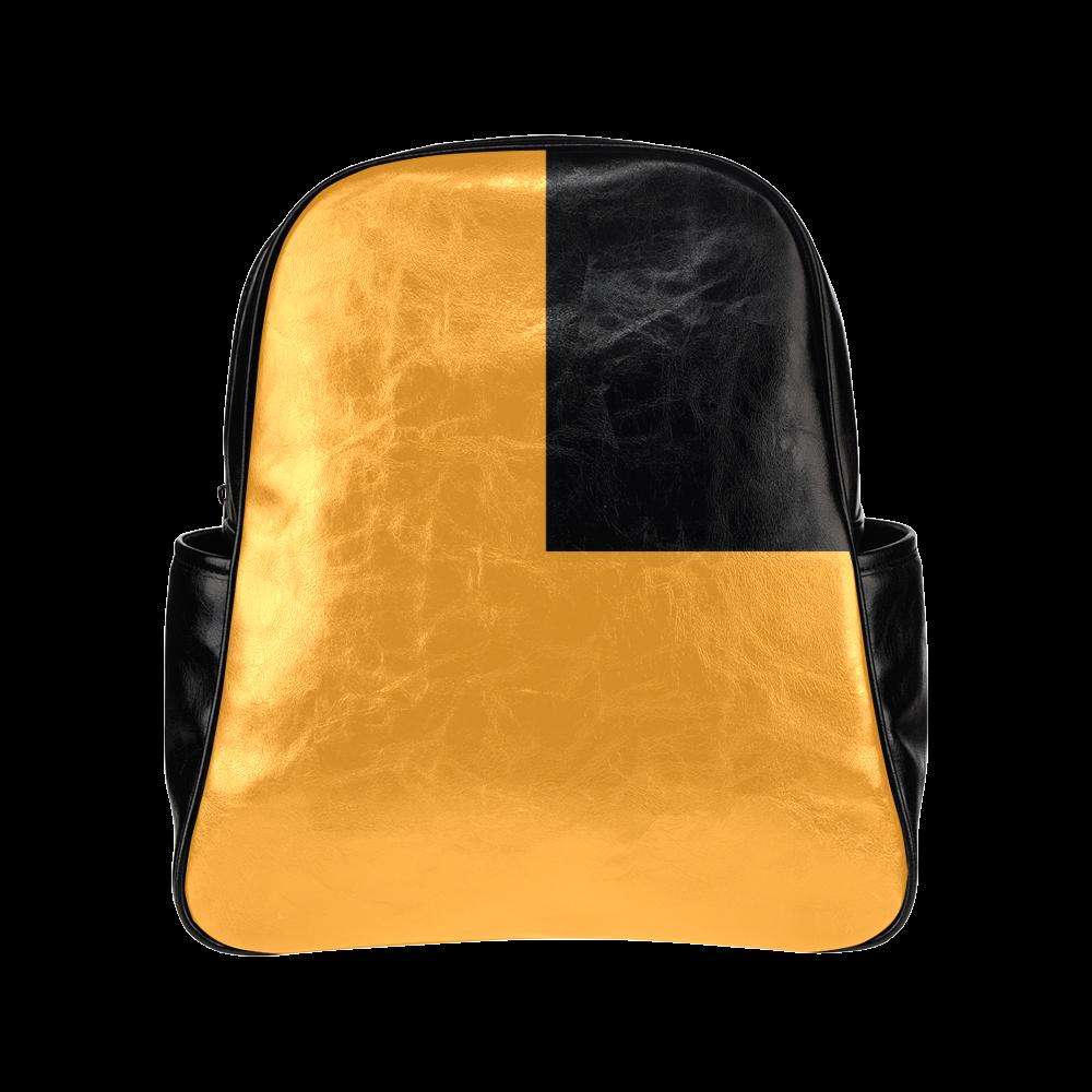 Retro in Orange Multi-Pockets Backpack (Model 1636)