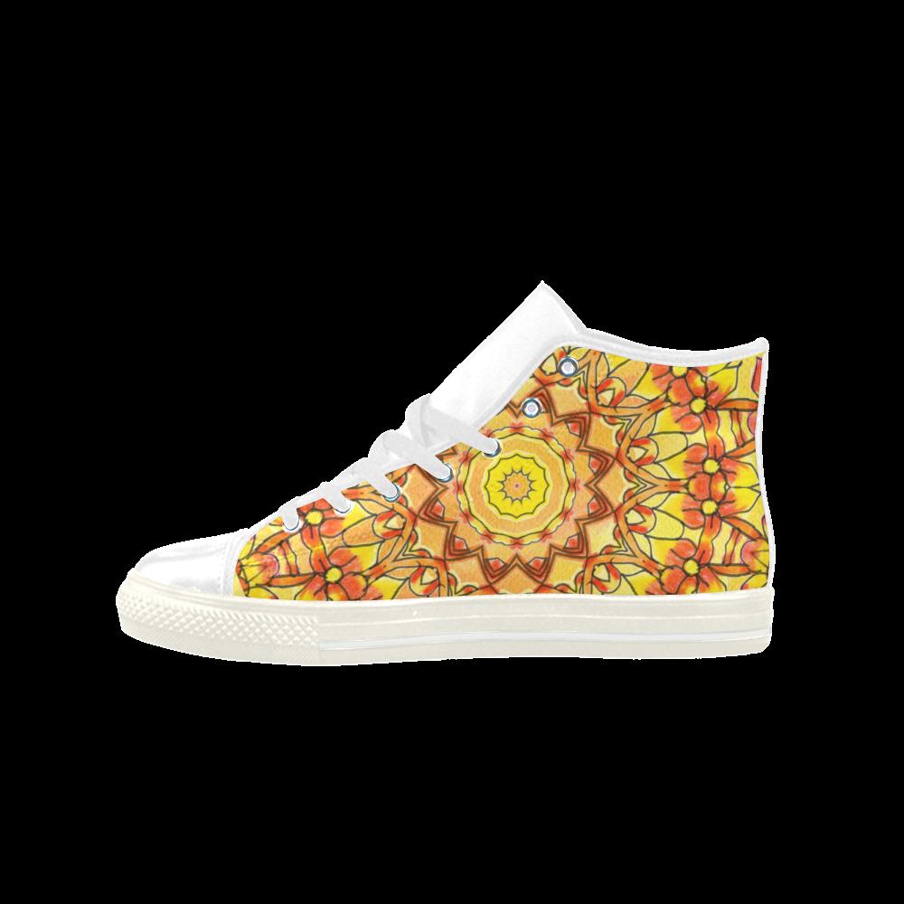 Orange Yellow Sunflower Mandala Red Zendoodle Aquila High Top Microfiber Leather Men's Shoes (Model 027)