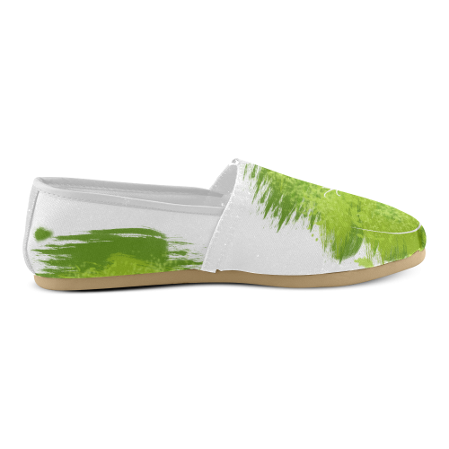 Green Lizard Shape Painting White Unisex Casual Shoes (Model 004)