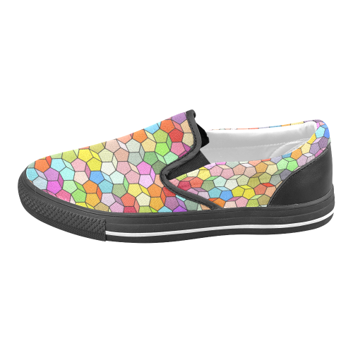 Colorful Polygon Pattern Women's Unusual Slip-on Canvas Shoes (Model 019)