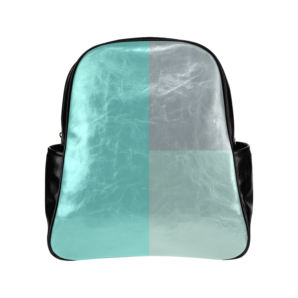 Grey with Teal Accents Multi-Pockets Backpack (Model 1636)