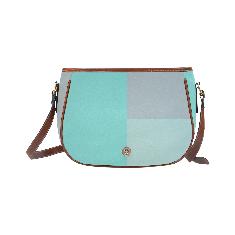 Grey with Teal Accents Saddle Bag/Large (Model 1649)