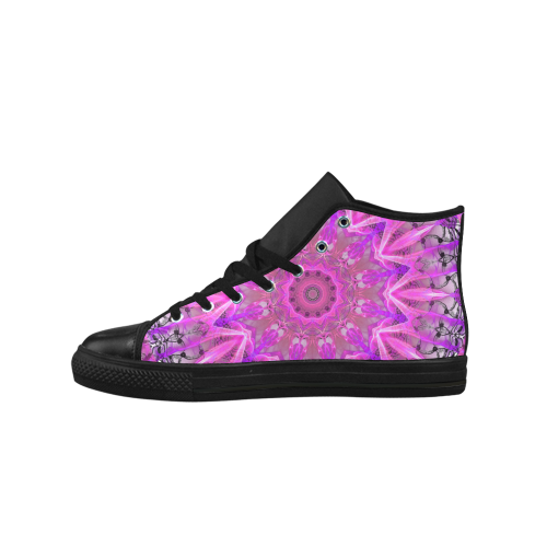 Lavender Lace Abstract Pink Light Love Lattice Aquila High Top Microfiber Leather Men's Shoes (Model 027)