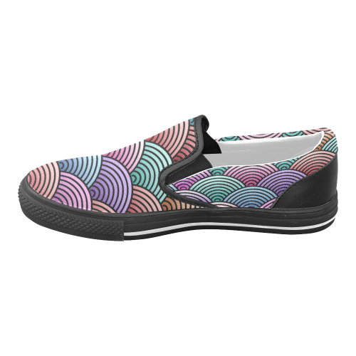 Concentric Circle Pattern Women's Unusual Slip-on Canvas Shoes (Model 019)