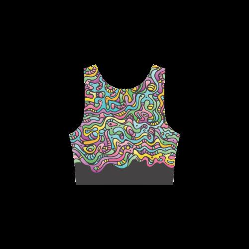Colorful Tidal Pool, abstract animals, black Atalanta Sundress (Model D04)