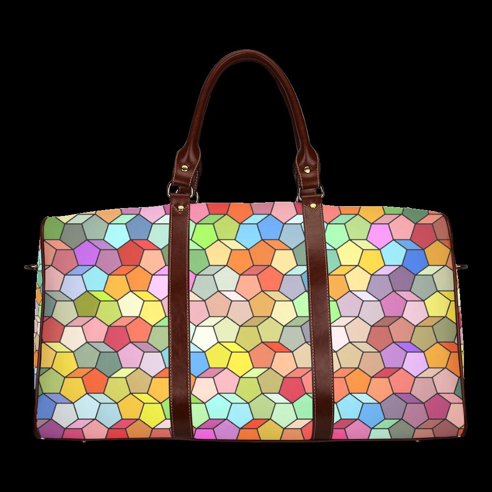 Colorful Polygon Pattern Waterproof Travel Bag/Large (Model 1639)