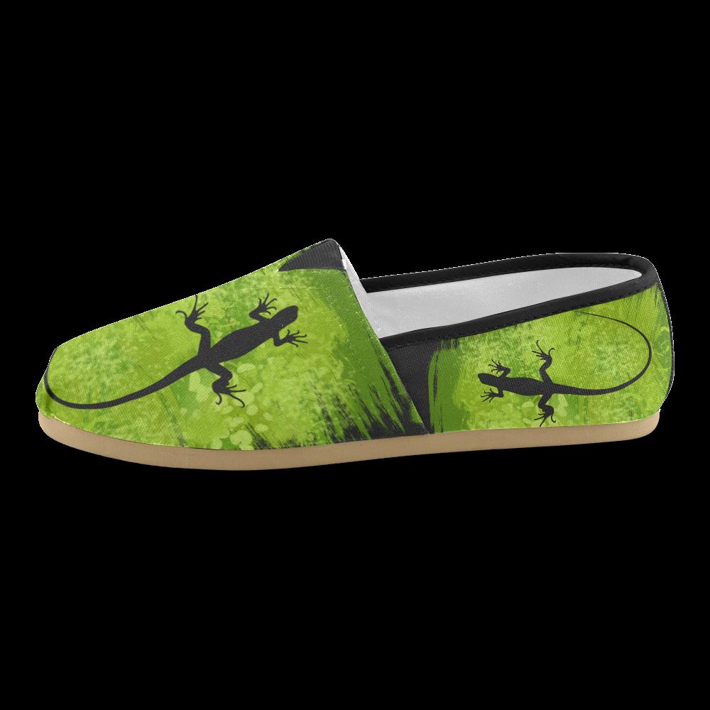Green Lizard Shape Painting Black Unisex Casual Shoes (Model 004)