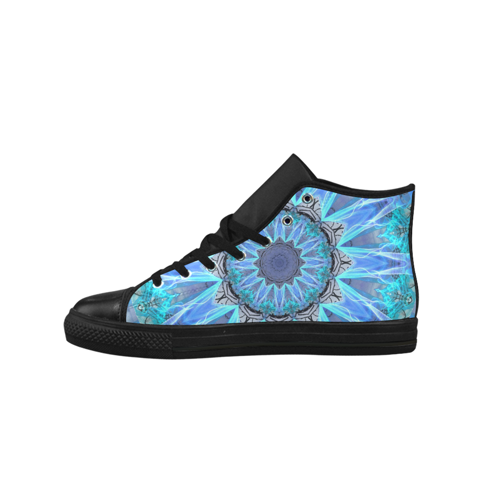Sapphire Ice Flame, Cyan Blue Crystal Wheel Aquila High Top Microfiber Leather Men's Shoes (Model 027)