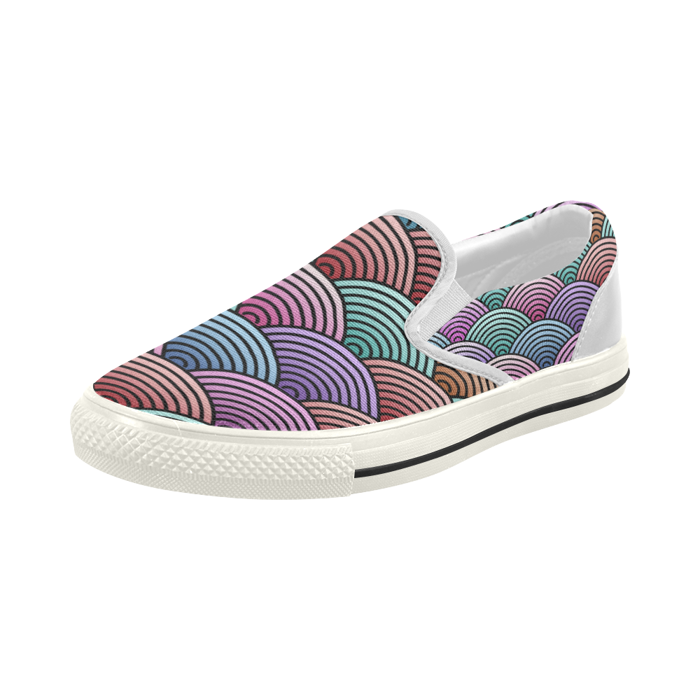 Concentric Circle Pattern Women's Slip-on Canvas Shoes (Model 019)