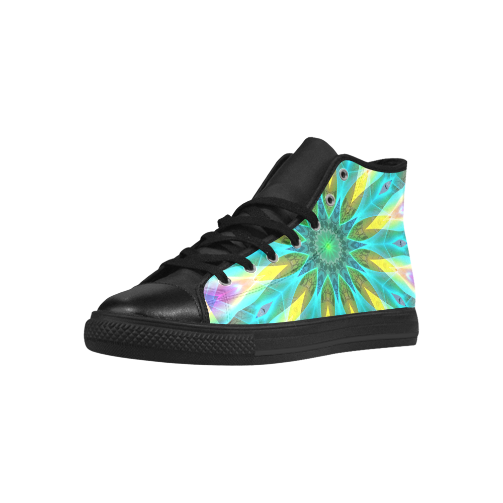 Golden Violet Peacock Sunrise Abstract Wind Flower Aquila High Top Microfiber Leather Men's Shoes (Model 027)