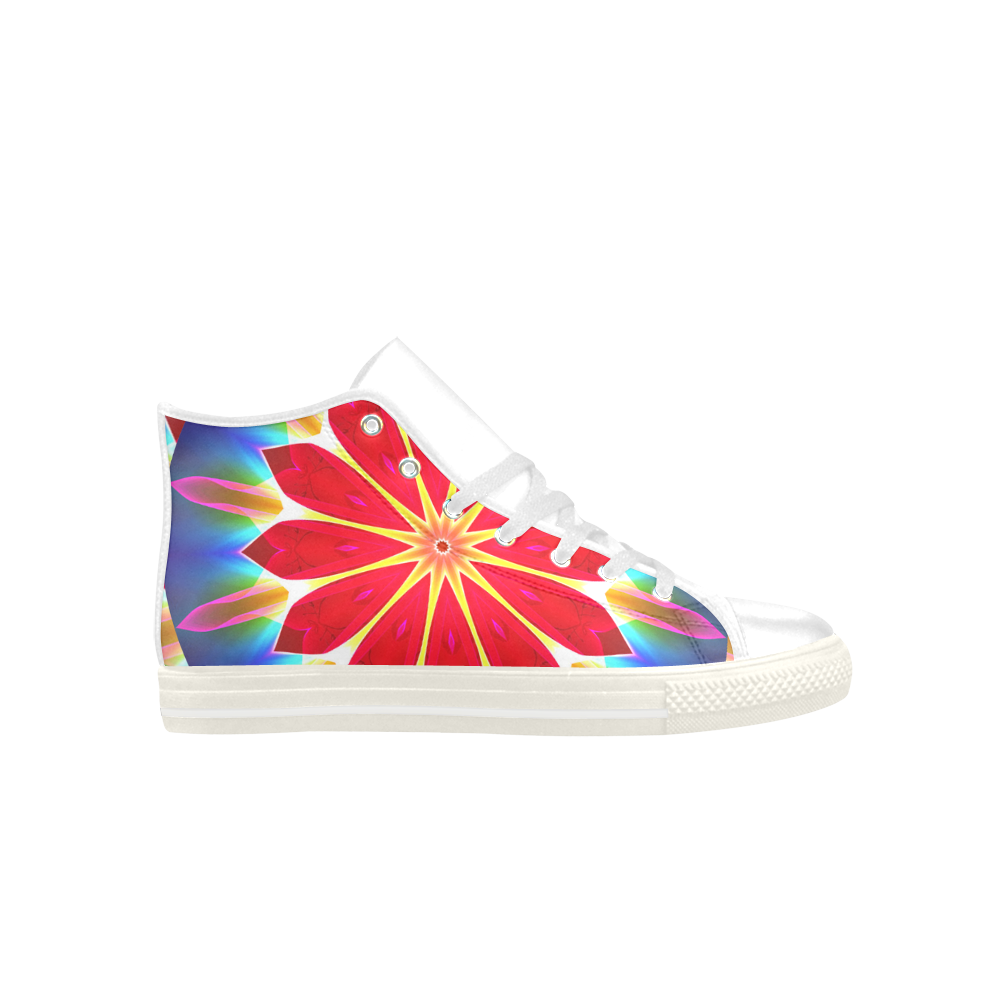 Blue Ice Flowers Red Abstract Modern Petals Zen Aquila High Top Microfiber Leather Men's Shoes (Model 027)