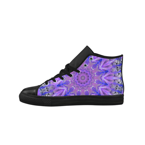 Abstract Plum Ice Crystal Palace Lattice Lace Aquila High Top Microfiber Leather Men's Shoes (Model 027)