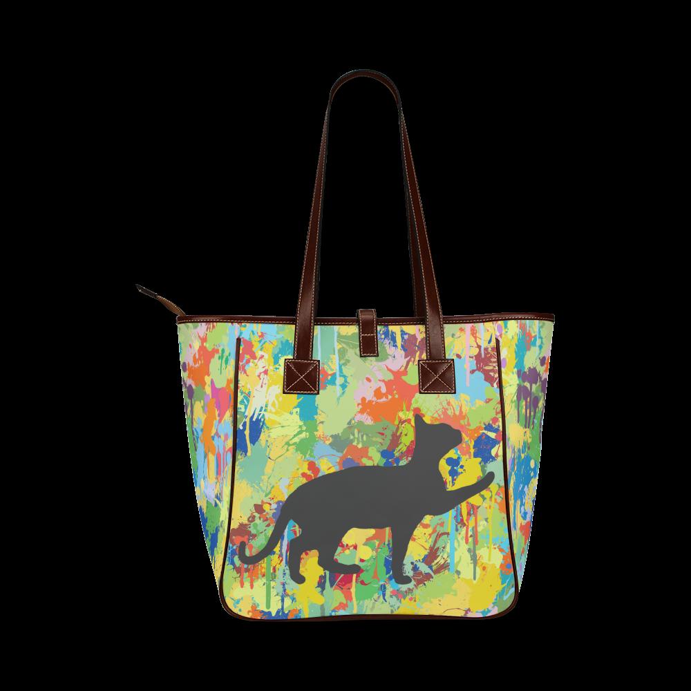 Black Cat Shape Colorful Splash Classic Tote Bag (Model 1644)