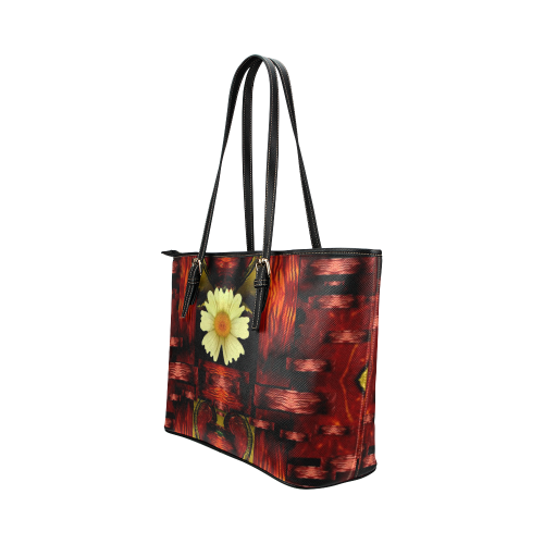 Love and flowers in the colors of love popart Leather Tote Bag/Large (Model 1651)