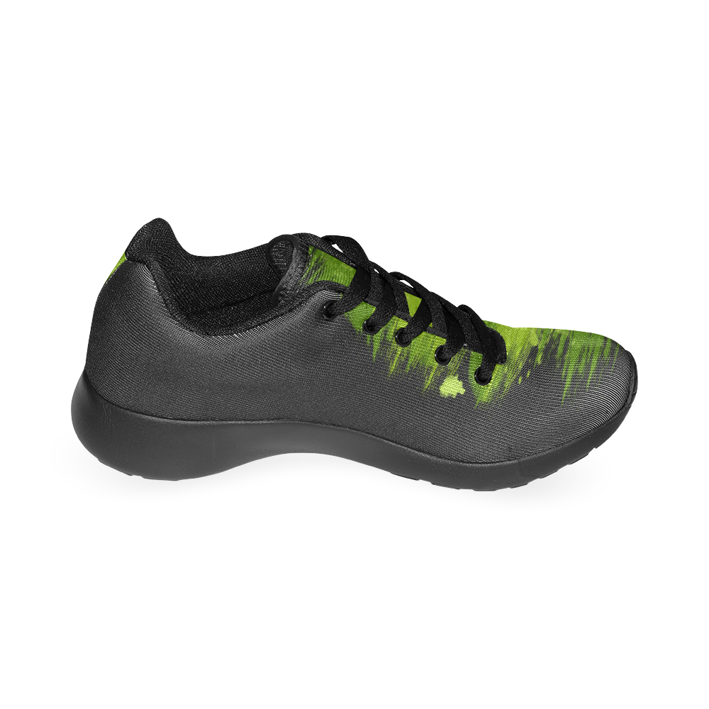 Green Lizard Shape Painting Black Women's Running Shoes (Model 020)