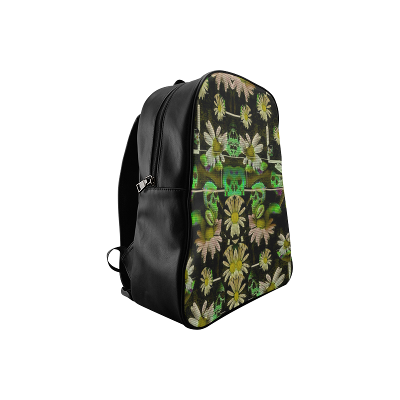 Skull in the fantasy forest popart School Backpack/Large (Model 1601)