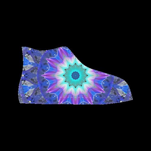 Blue Ice Merry Aqua Violet Foliage Flowers Zen Aquila High Top Microfiber Leather Men's Shoes (Model 027)