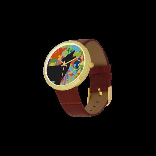 Wolf Black Shape Colorful Splash Y Background Women's Golden Leather Strap Watch(Model 212)