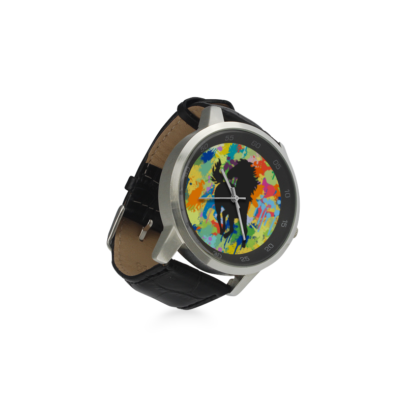 Horse Black Shape Colorfule  Splash Unisex Stainless Steel Leather Strap Watch(Model 202)