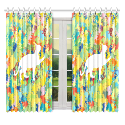 "Lovely Cat Colorful Splash Complet Window Curtain 52"" x 63""(One Piece)"