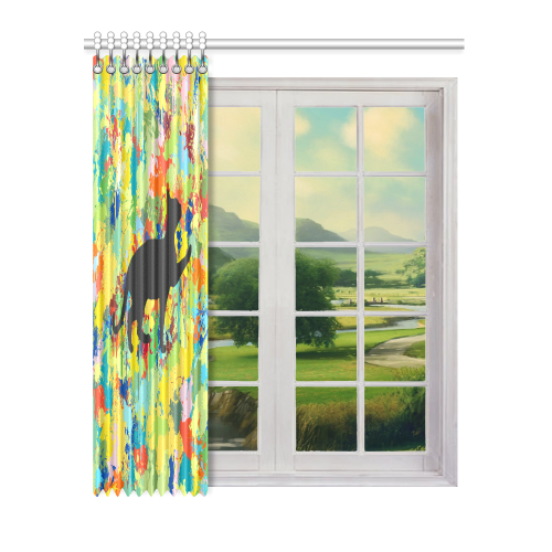 "Lovely Cat Colorful Splash Window Curtain 52"" x 63""(One Piece)"