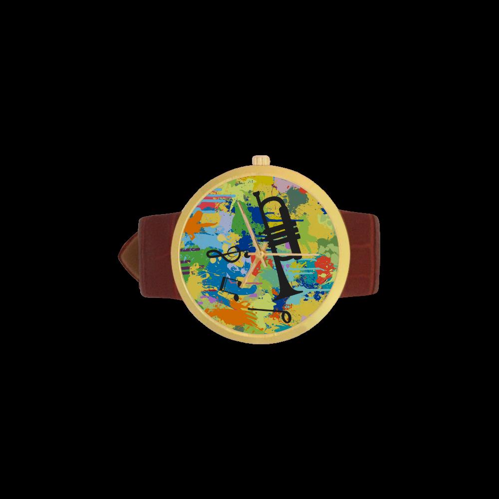 Let´s Musik Black Shape Colorful Splash Women's Golden Leather Strap Watch(Model 212)